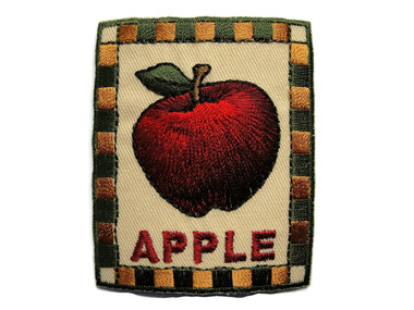 Apple w Stem in Frame Applique Embroidered Iron On Patch 2 x 2.5 Inches
