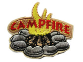 Campfire Outdoors Camping Firepit Embroidered Iron On Patch 2.25 in
