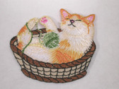 Kitten w Yarn Ball in Basket Iron On Applique Patch