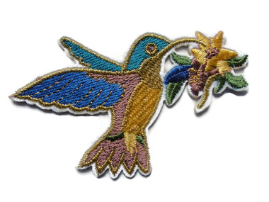 Hummingbird Carrying Flower Embroidered Iron On Patch 3.5 Inch