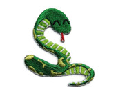 Green Snake Comical Curled Embroidered Iron On Patch Applique 2.25 Inch