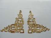 Pair Gold Metallic Scroll Costume Iron On Patches 5.75 Inch Jacket Cuff Accents