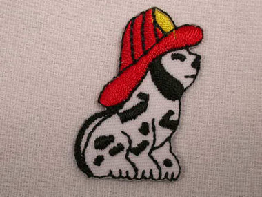 Dalmatian w Fire Hat Embroidered Iron On Applique Patch