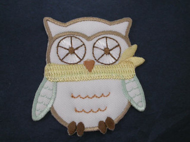 Baby Owl Embroidered Iron On Patch White