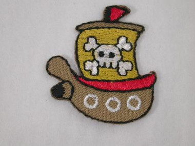 Pirate Ship Infant Embroidered Iron On Patch Applique