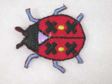 Red Black Beetle Embroidered Iron On Applique Patch