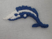 Leaping Blue White Swordfish Sew On Patch 1.5 Inches