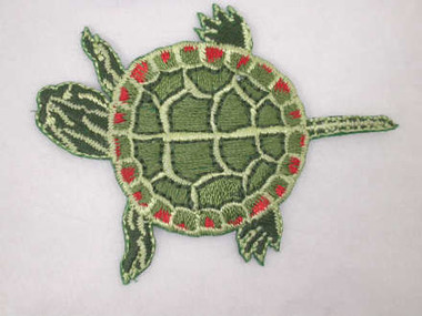 Painted Turtle Iron On Embroidered Patch Natural