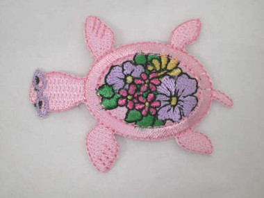 Pink Beach Turtle with Flowers Iron On Patch