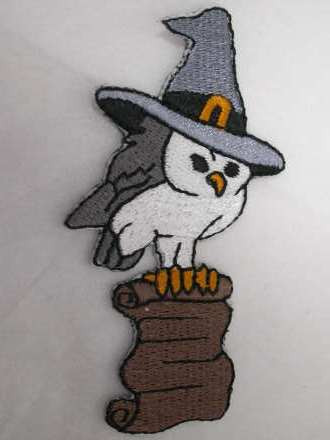 Magical Owl Wizard  Embroidered Iron On Applique Patch