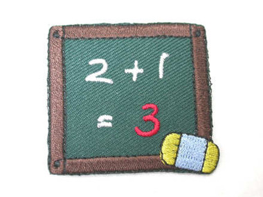 Chalk Board Eraser 123 Embroidered Iron On Patch
