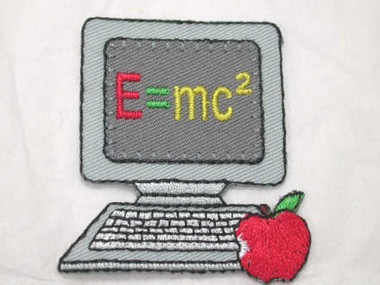 Computer PC Apple E=MC2 Embroidered Iron On Patch