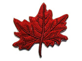 Dark Red Maple Leaf Embroidered Iron On Patch 2 Inches