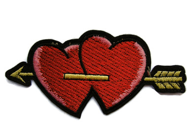 Double Red Hearts with Arrow Embroidered Iron On Patch Applique 4.25 Inch