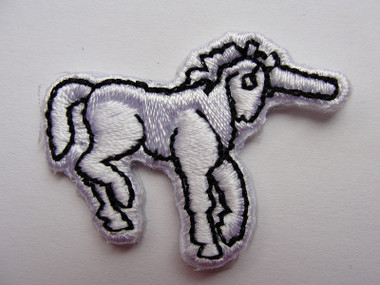 White Unicorn Embroidered Iron On Applique Patch