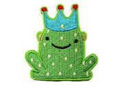 Green Spotted Frog Prince With Crown Embroidered Iron On Patch Applique 2.5 Inches