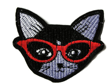 Black Cat Red Eyeglasses Embroidered Iron On Patch Applique