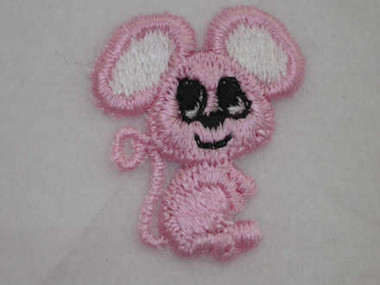 Pink Mouse Embroidered Iron On Patch