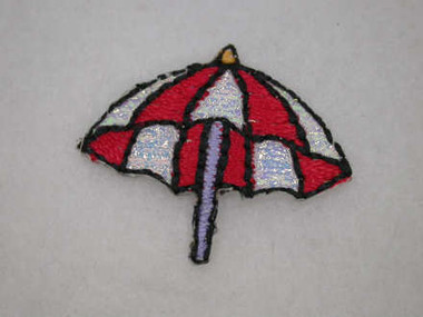 Red White Umbrella Embroidered Iron On Patch Applique