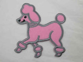 Pink Felted Poodle Embroidered Iron On Applique 4 Inch