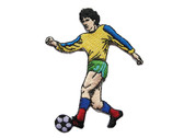 Yellow Green Soccer Kicking Player Playing Embroidered Iron On Patch Applique