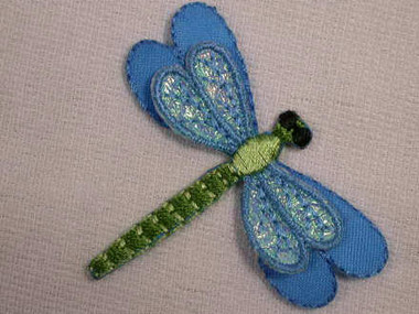 Luster Blue Dragonfly Iron On Patch Applique 2.25 In