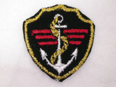 Black Nautical Emblem with Anchor Iron On Patch