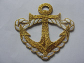 Gold White Rope Anchor Nautical Iron On Patch