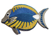 Tropical Reef Fish Blue Yellow White Tan Embroidered Iron On Patch 3.88 Inches