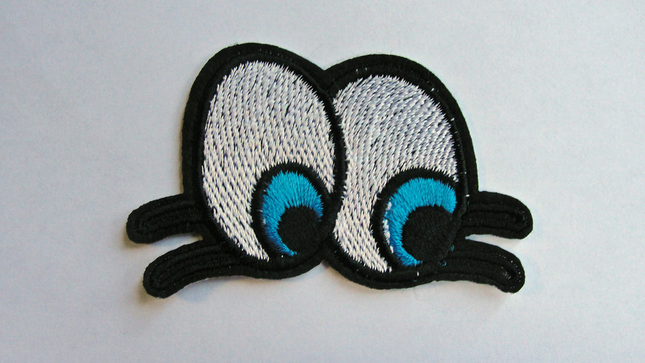 Peering Cartoon Eyeballs Embroidered Iron On Applique Patch 2 5//8 Inch