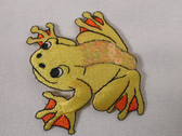 Yellow Sequin Accented Frog Iron On Applique Patch