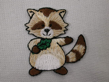 Cute Raccoon With Oak Leaf Embroidered Iron On Patch 1.38 In