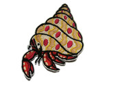 Hermit Crab Red Gold Embroidered Iron On Patch 2.75 Inch