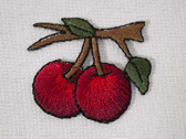 "1.38"" Dark Red Cherry Pair on Tree Limb Embroidered Iron On Patch"