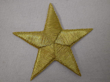 Gold Metallic Star Embroidered Iron On Patch 2.38 In