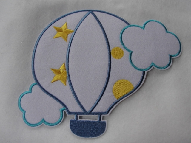 Pastel Infant Hot Air Balloon Embroidered Iron On Applique Patch 8.5 Inches