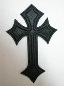 Black Cross Embroidered Iron On Patch 3 7/8 Inch