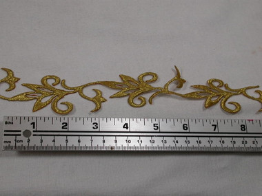12 Inch Gold Scroll Leaf Costume Iron On Applique Patch Cut in 1 Continuous Piece