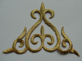 Gold Double Fleur Di Lis Triangle Scroll Iron On Patch 5.5 In