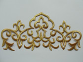Gold Metallic Multiple Fleur Di Lis Triangle Scroll Iron On Patch 8 x 3.75 Inch