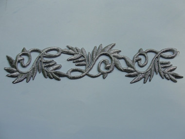Silver Metallic Leaf Scroll Costume Iron On Applique Patch 8.25 Inch