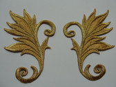 Pair Gold Metallic Leafy Scrolls Costume Iron On Embroidered Patches 3.63 Inches