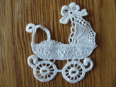 White Baby Carriage Pram Venise Lace Sew On Applique Patch 3 Inch