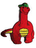 Brachiosaurus Dinosaur Child Cartoon Baseball Cap Iron On Patch 3.5 Inches - Red