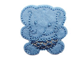 Aqua Elephant With Crown Embroidered Iron On Patch 1.5 In