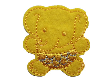 Elephant Child Embroidered Felt Iron On Patch Applique 1.5 Inches - Yellow