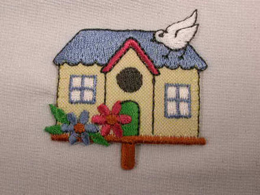 Birds and House Embroidered Iron On Applique Patch