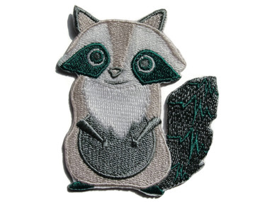 Light Grey Greenish Raccoon Large Eyes Iron On Patch Applique 2.5 Inches