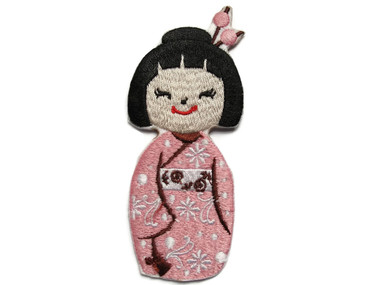 Japanese Asian Doll Pink Embroidered Iron On Patch Applique 3.75 Inches