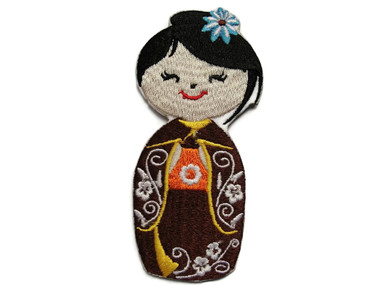 Japanese Asian Doll Brown Embroidered Iron On Patch Applique 3.75 Inches